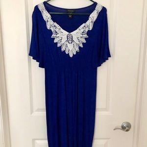 SPENSE Royal Blue + White Lace Casual Dress